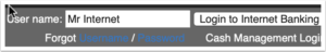 diagram of online banking login form with username field, log in button, and forgot username and password links