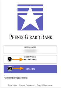 Diagram of the application screen 1. fill out the password field once you have filled out your username 2. select Sign In button to sign into the application