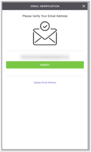 diagram of application screen of verifying email address by clicking verify button at the center of screen with displayed email above